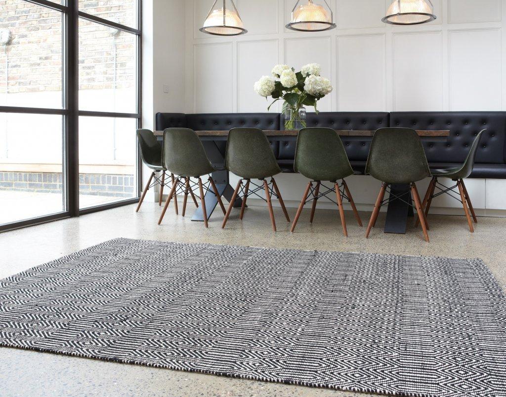 Moderner Designer Teppich Sloan Rug Black SchwarzWeiß