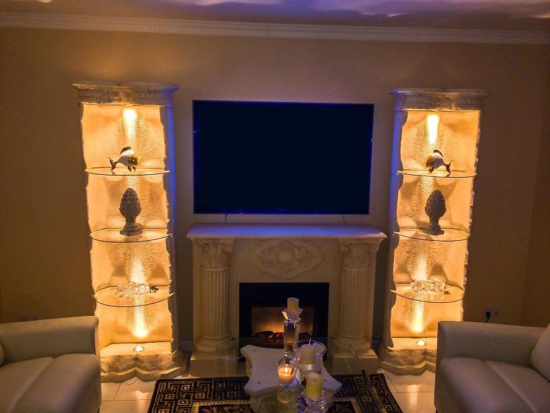 2 x stands ule elektrokamin steinm bel fossil kamin. Black Bedroom Furniture Sets. Home Design Ideas