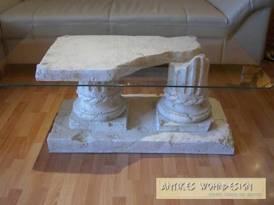 Antiker Glastisch Edler Wohnzimmertisch Couchtisch