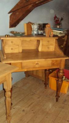 nr 3420 schreibtisch tisch tisch mit aufsatz weichholz. Black Bedroom Furniture Sets. Home Design Ideas