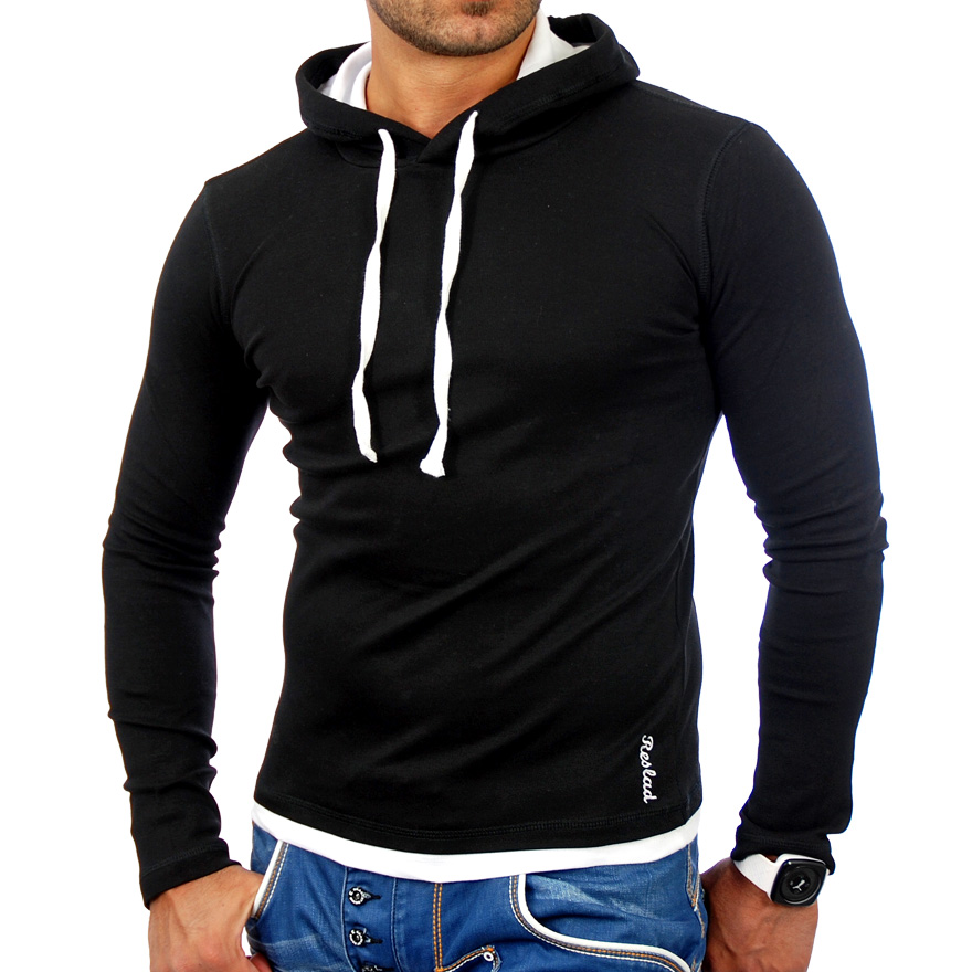 reslad rs 1003 slim fit kapuzen pullover herren hemd jacke t shirt. Black Bedroom Furniture Sets. Home Design Ideas