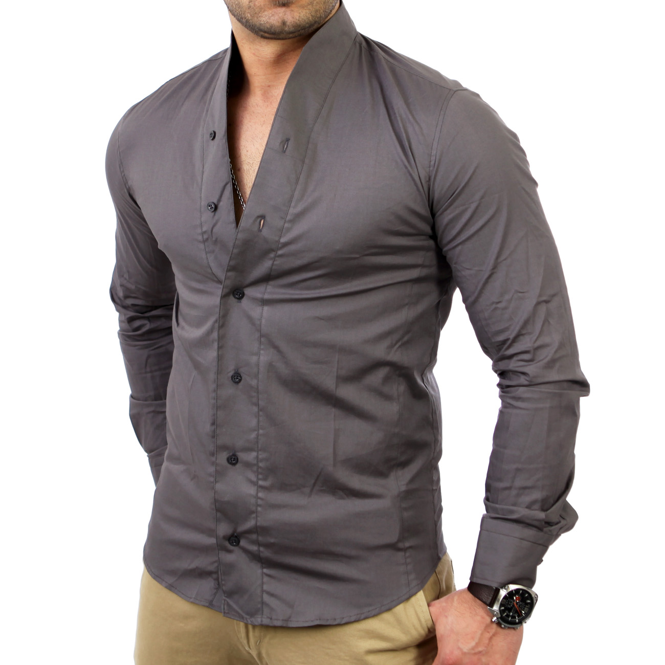 reslad mens stand collar shirt casual polo t shirt rs 7100 new ebay. Black Bedroom Furniture Sets. Home Design Ideas