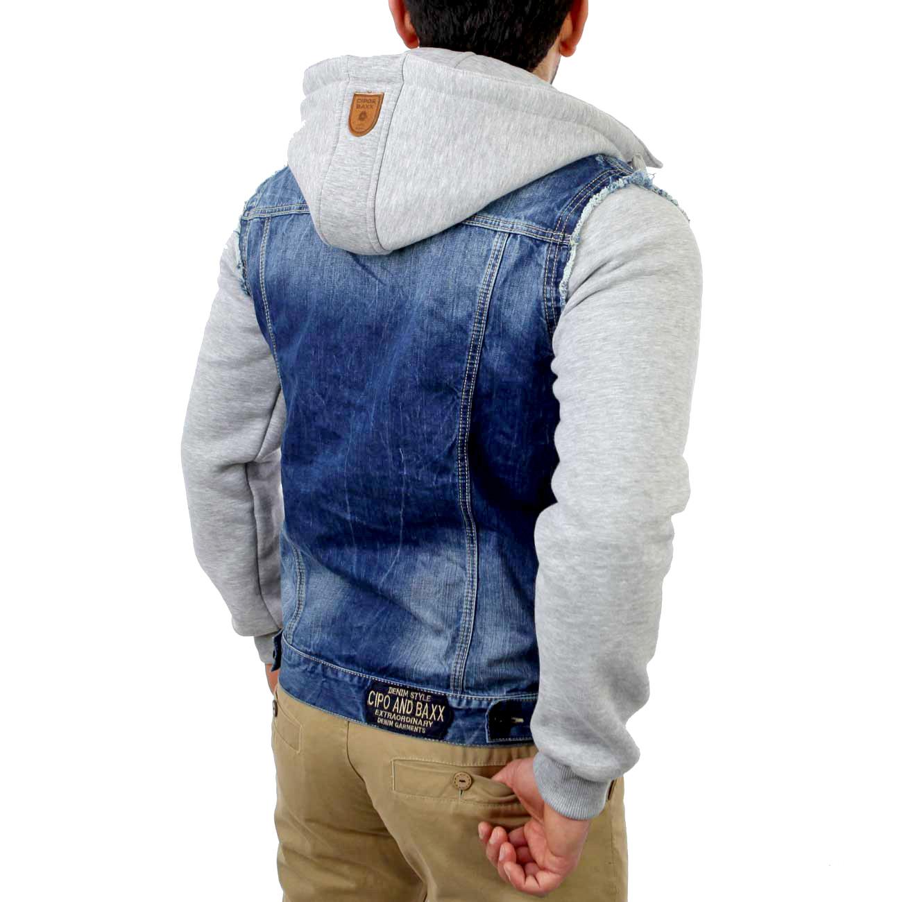 cipo baxx c 1294 herren 2in1 jeansjacke jeans jacke sweatjacke hoody pullover ebay. Black Bedroom Furniture Sets. Home Design Ideas