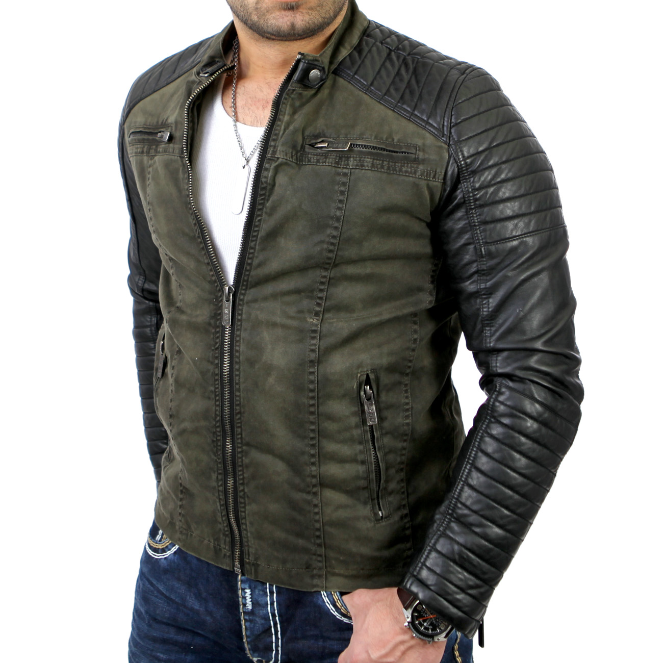 redbridge r 41451 herren biker kunst lederjacke jacke khaki neu ebay. Black Bedroom Furniture Sets. Home Design Ideas