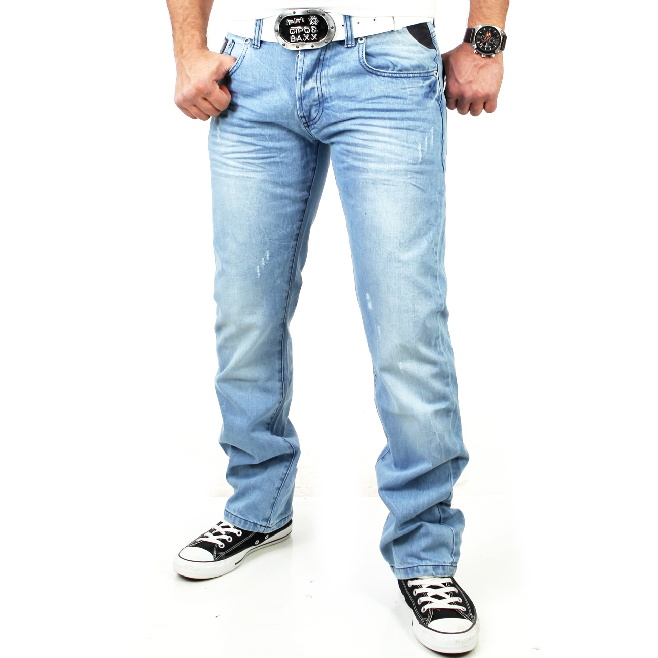 tazzio tz 5155 herren jeanshose bleached vintage leder jeans hose hellblau ebay. Black Bedroom Furniture Sets. Home Design Ideas