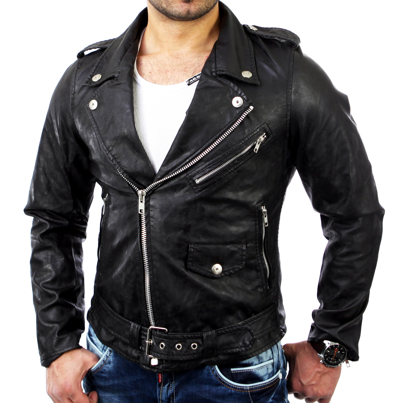 reslad herren biker jacke zipper kunst lederjacke rs 7769 schwarz neu ebay. Black Bedroom Furniture Sets. Home Design Ideas