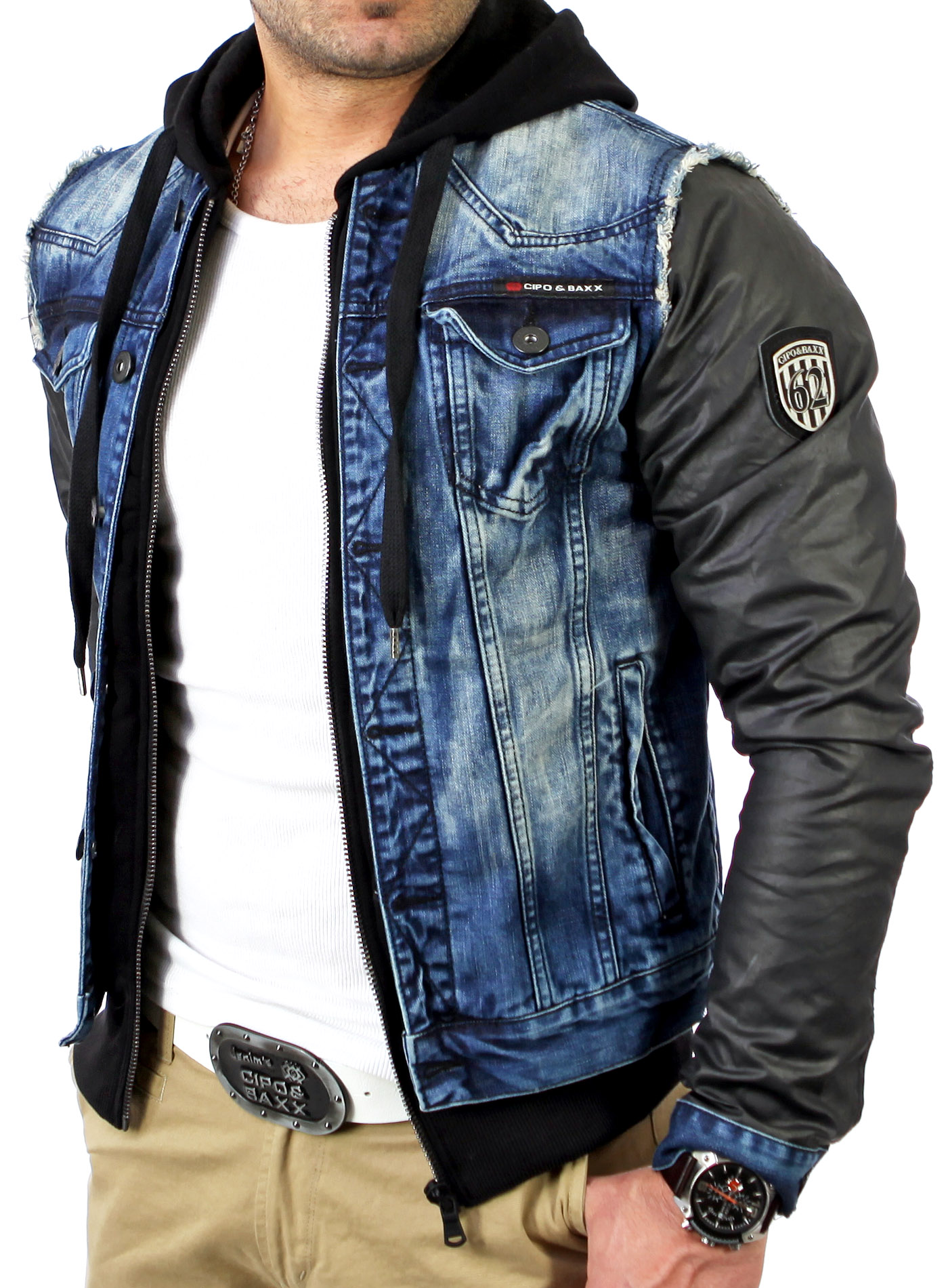 cipo baxx c 1290 herren 2in1 jeansjacke jeans jacke sweatjacke hoody pullover ebay. Black Bedroom Furniture Sets. Home Design Ideas