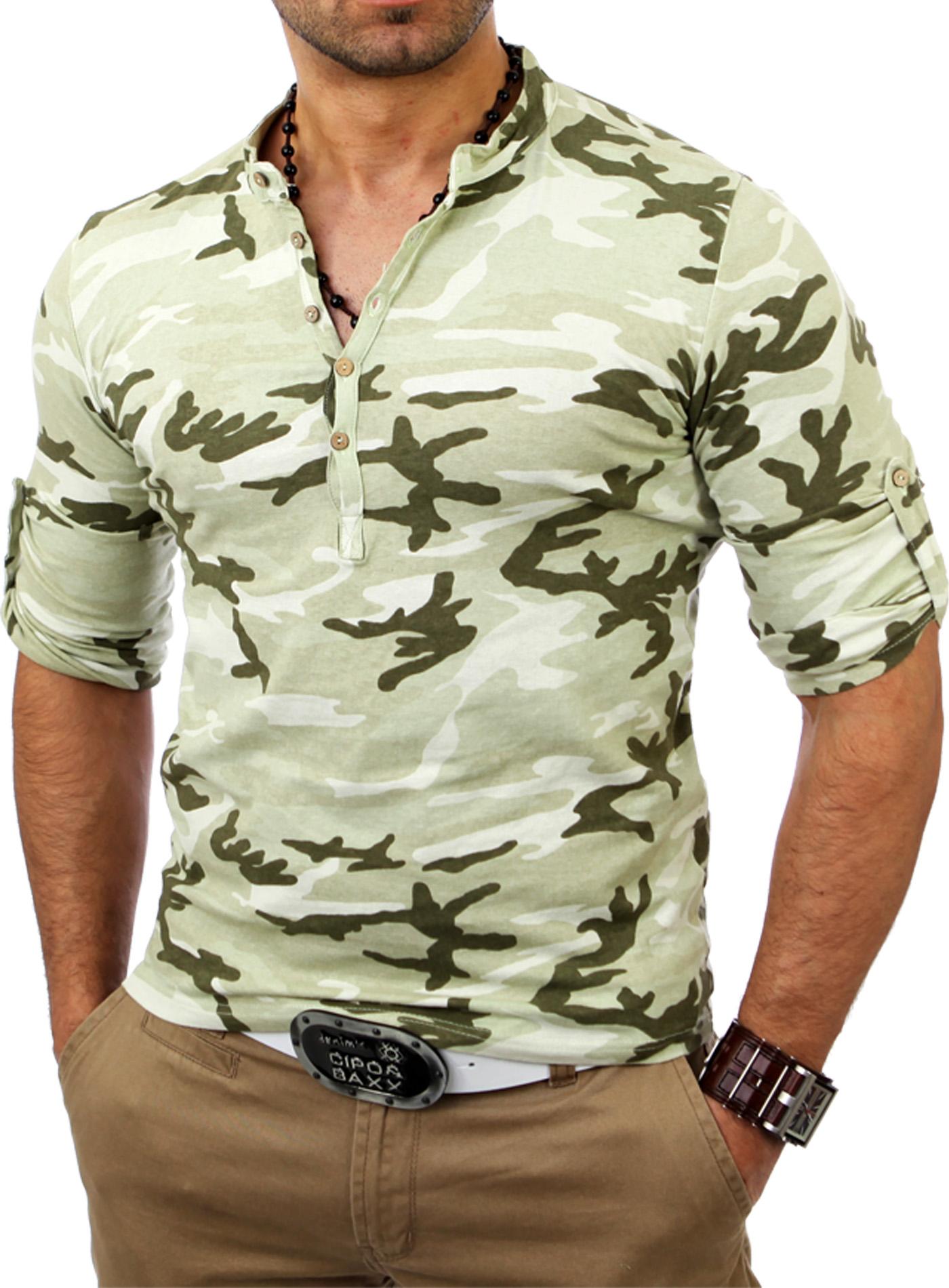 kickdown herren camouflage longsleeve longshirt t shirt hemd k 2478 ebay. Black Bedroom Furniture Sets. Home Design Ideas
