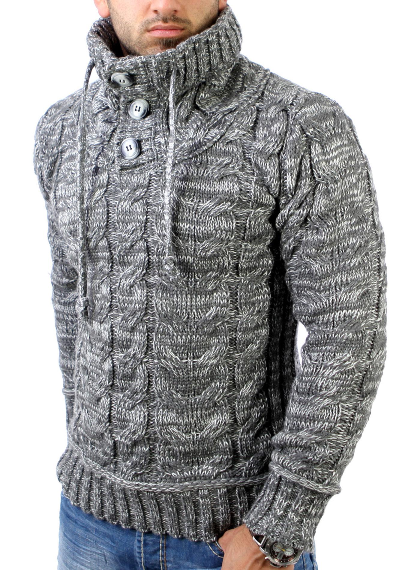 reslad herren hoher kragen strickpullover sweat jacke winter pullover rs 3960 ebay. Black Bedroom Furniture Sets. Home Design Ideas