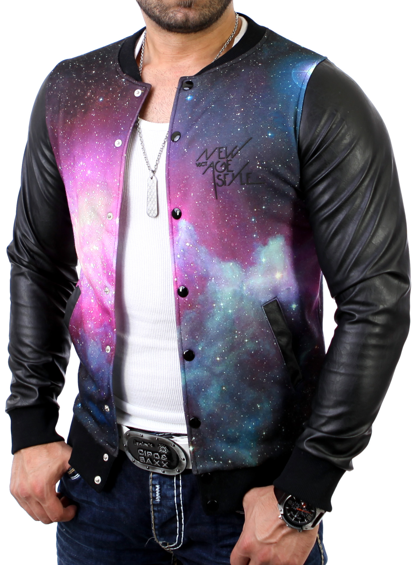 vsct herren college jacke mit leder rmeln galaxy sweatjacke jacke v. Black Bedroom Furniture Sets. Home Design Ideas
