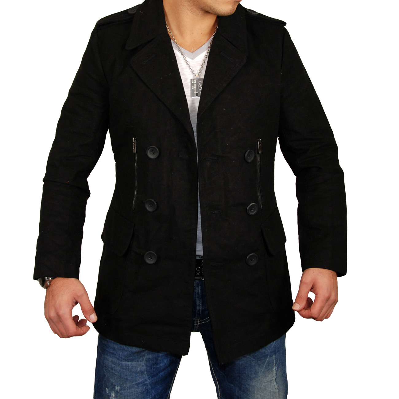 free side herren mantel jacke trenchcoat parker fs 3005 schwarz ebay. Black Bedroom Furniture Sets. Home Design Ideas