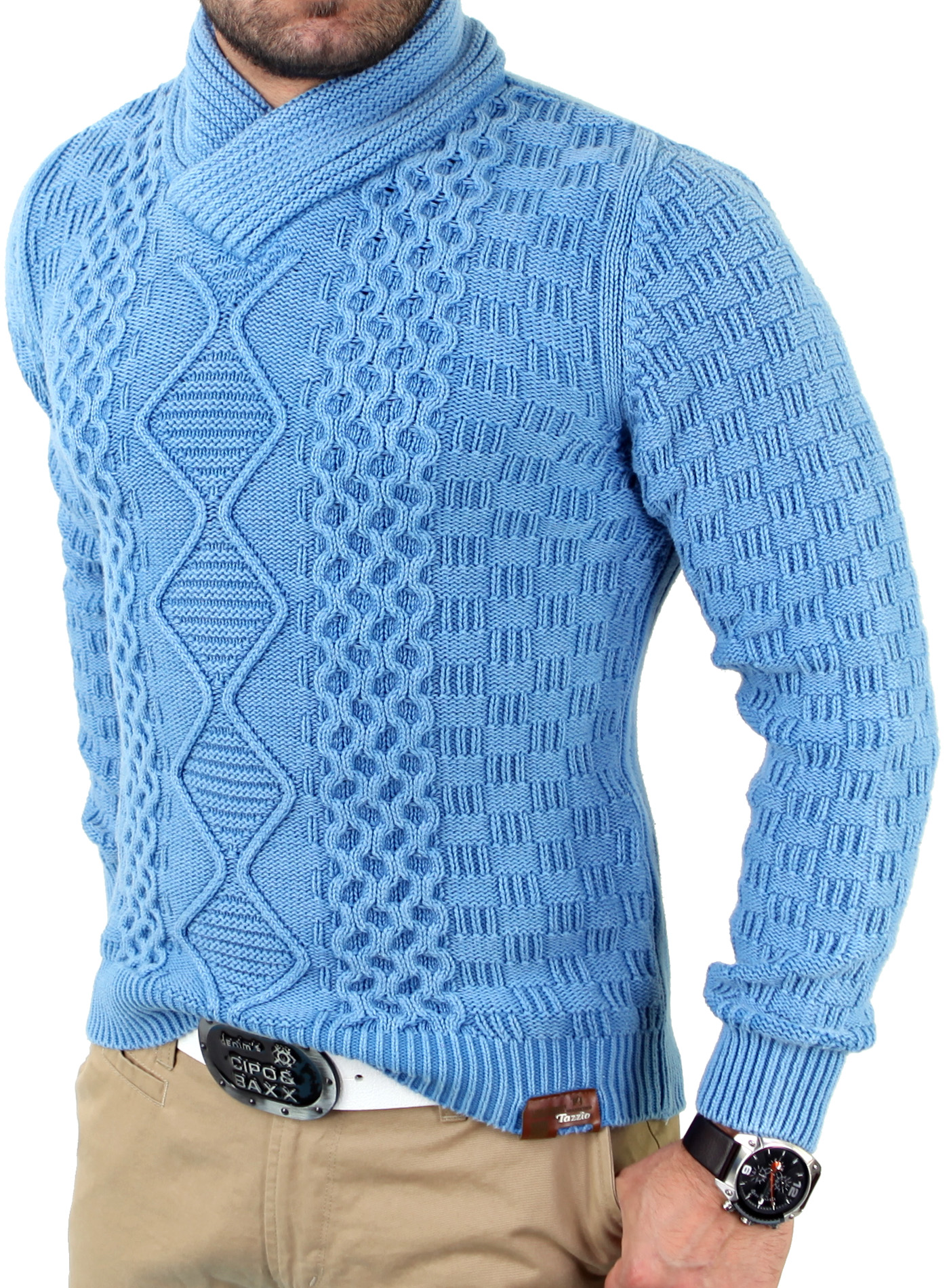 tazzio tz 409 herren winter vintage schalkragen strick pullover sweatshirt jacke ebay. Black Bedroom Furniture Sets. Home Design Ideas