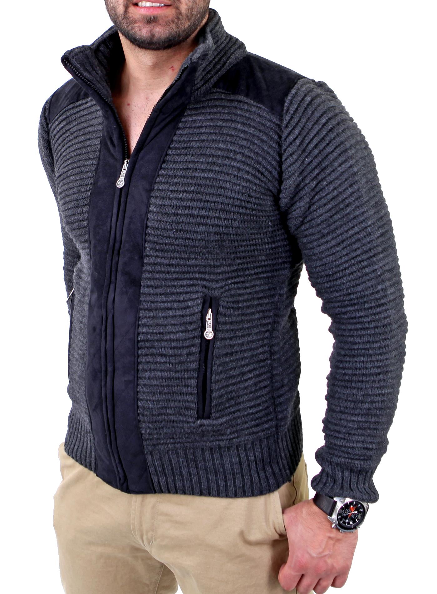 reslad herren grobstrick winter pullover sweatjacke strickjacke pulli rs 3203 ebay. Black Bedroom Furniture Sets. Home Design Ideas