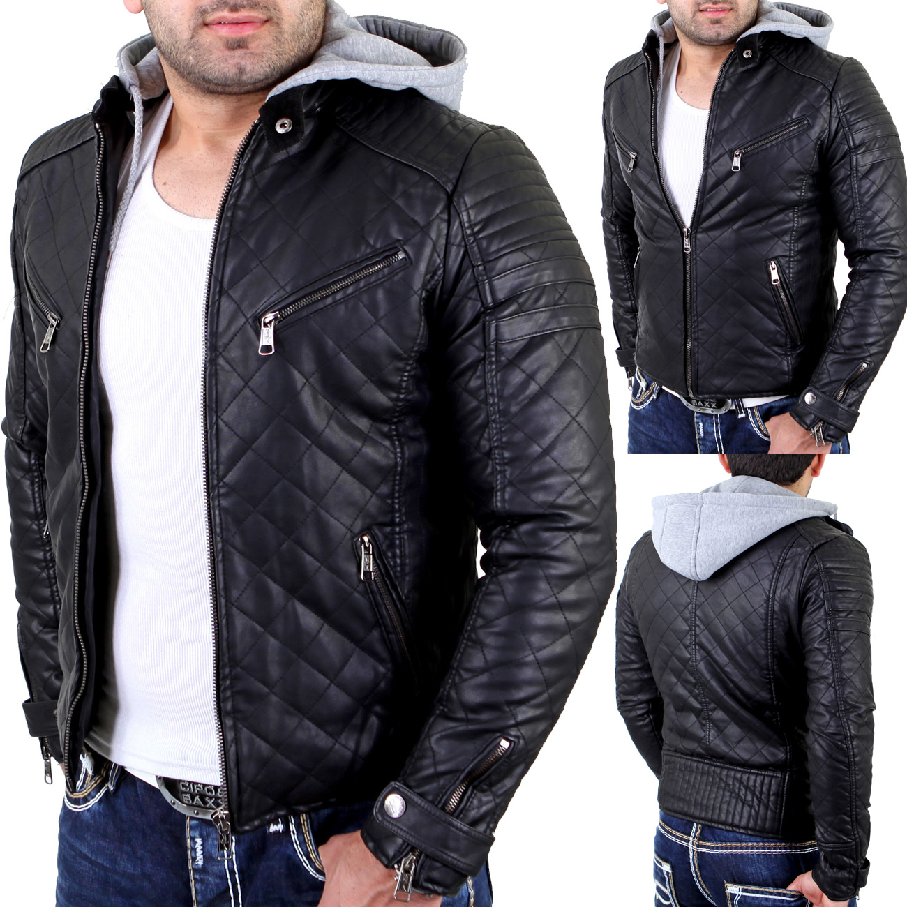 reslad rs 8801 lederjacke herren diamond stich kunst lederjacke mit kapuze schw ebay. Black Bedroom Furniture Sets. Home Design Ideas