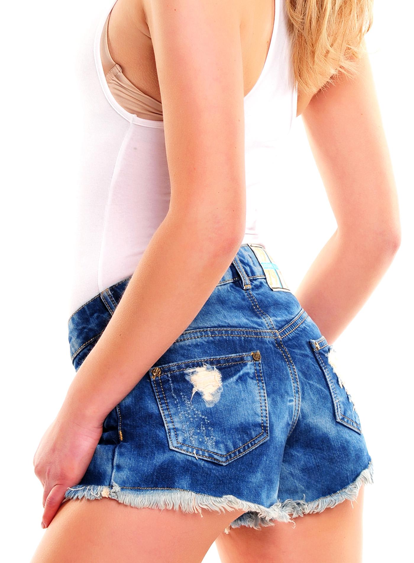 tazzio design damen jeans shorts jeans kurz hose damenjeans hotpants tz 802 blau ebay. Black Bedroom Furniture Sets. Home Design Ideas