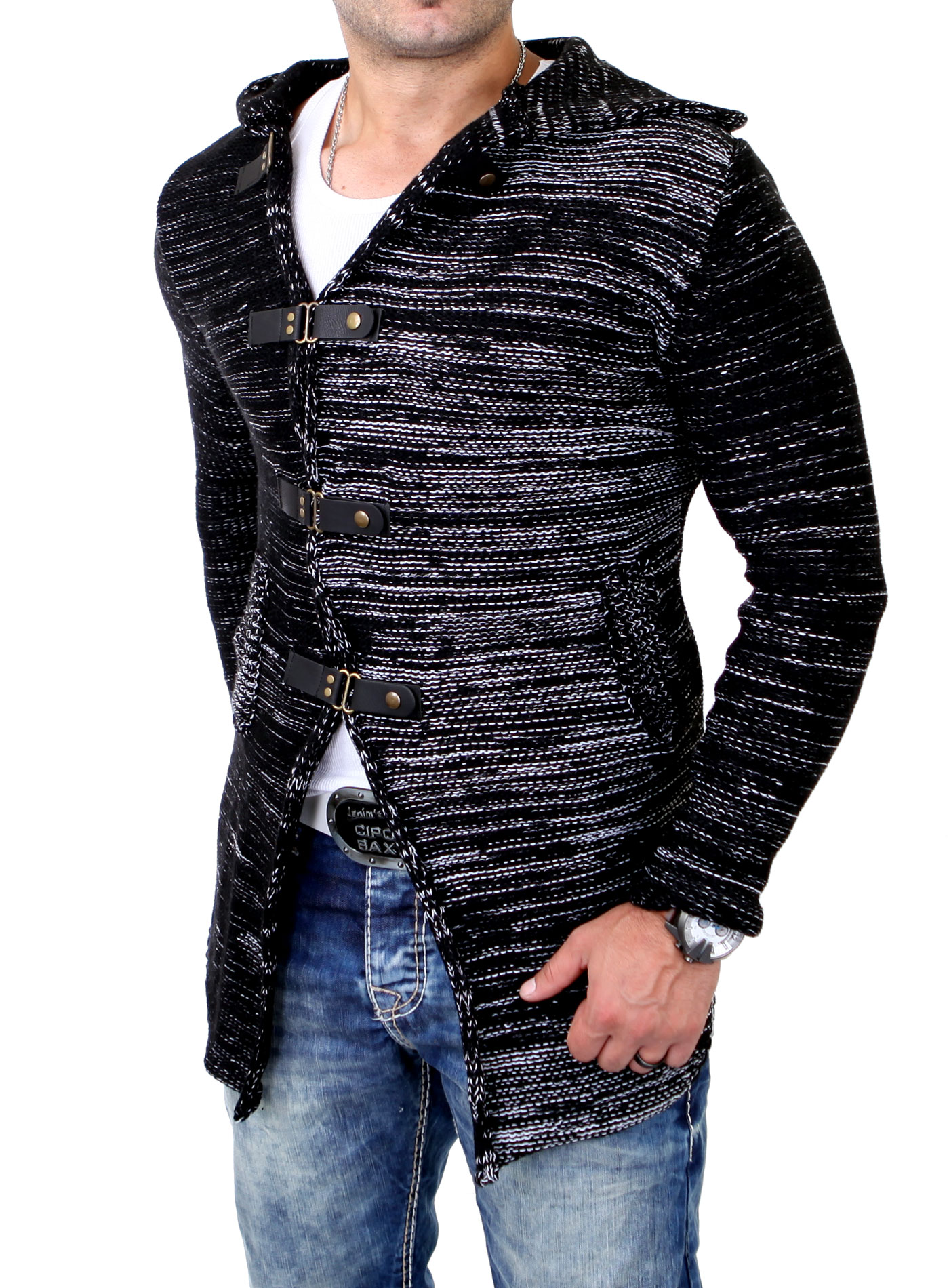 tazzio fashion herren winter strickjacke lange grob strick. Black Bedroom Furniture Sets. Home Design Ideas