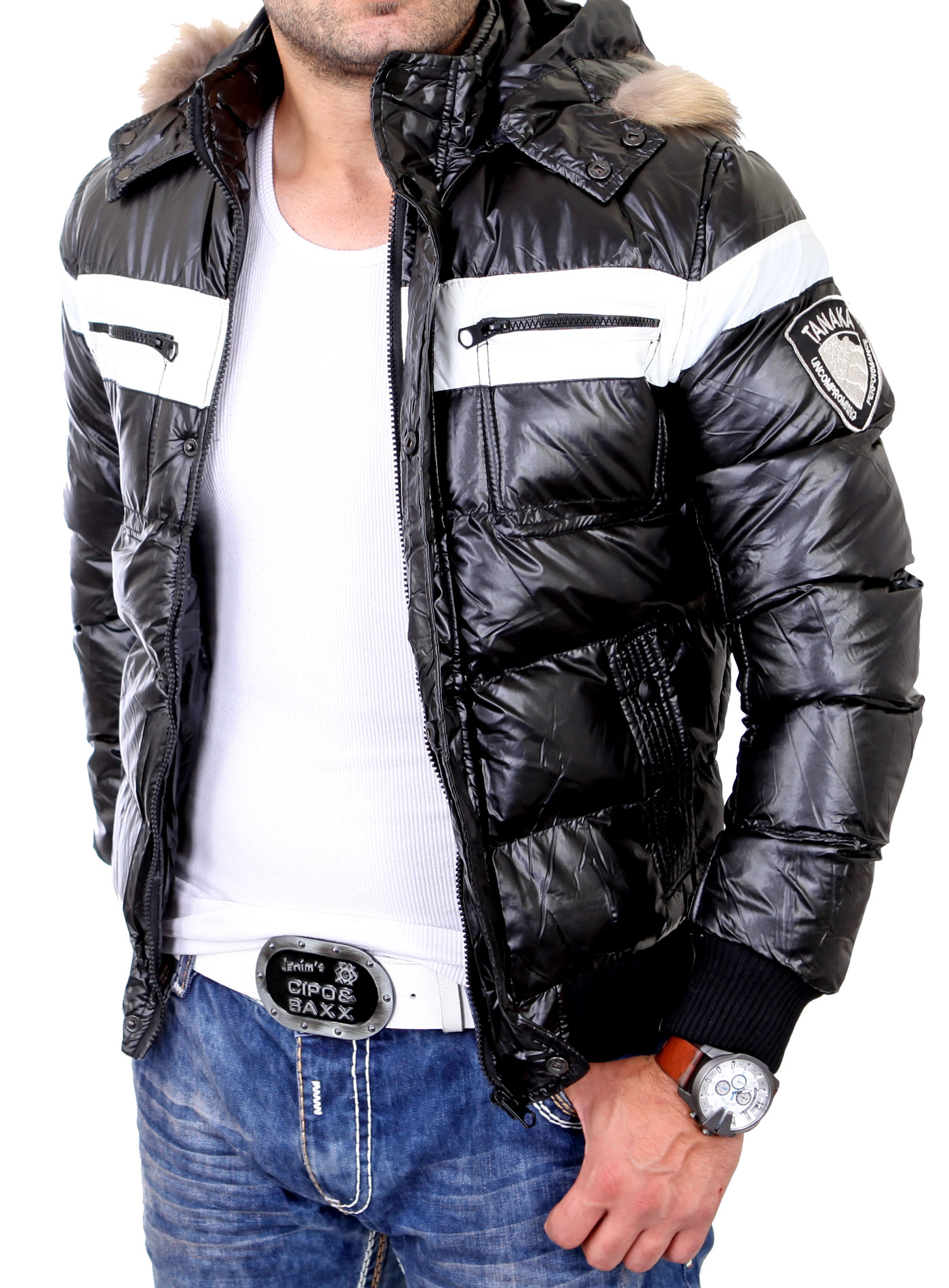 reslad herren jacke daunen glanz winterjacke mit fell kapuze rs 93a schwarz neu ebay. Black Bedroom Furniture Sets. Home Design Ideas