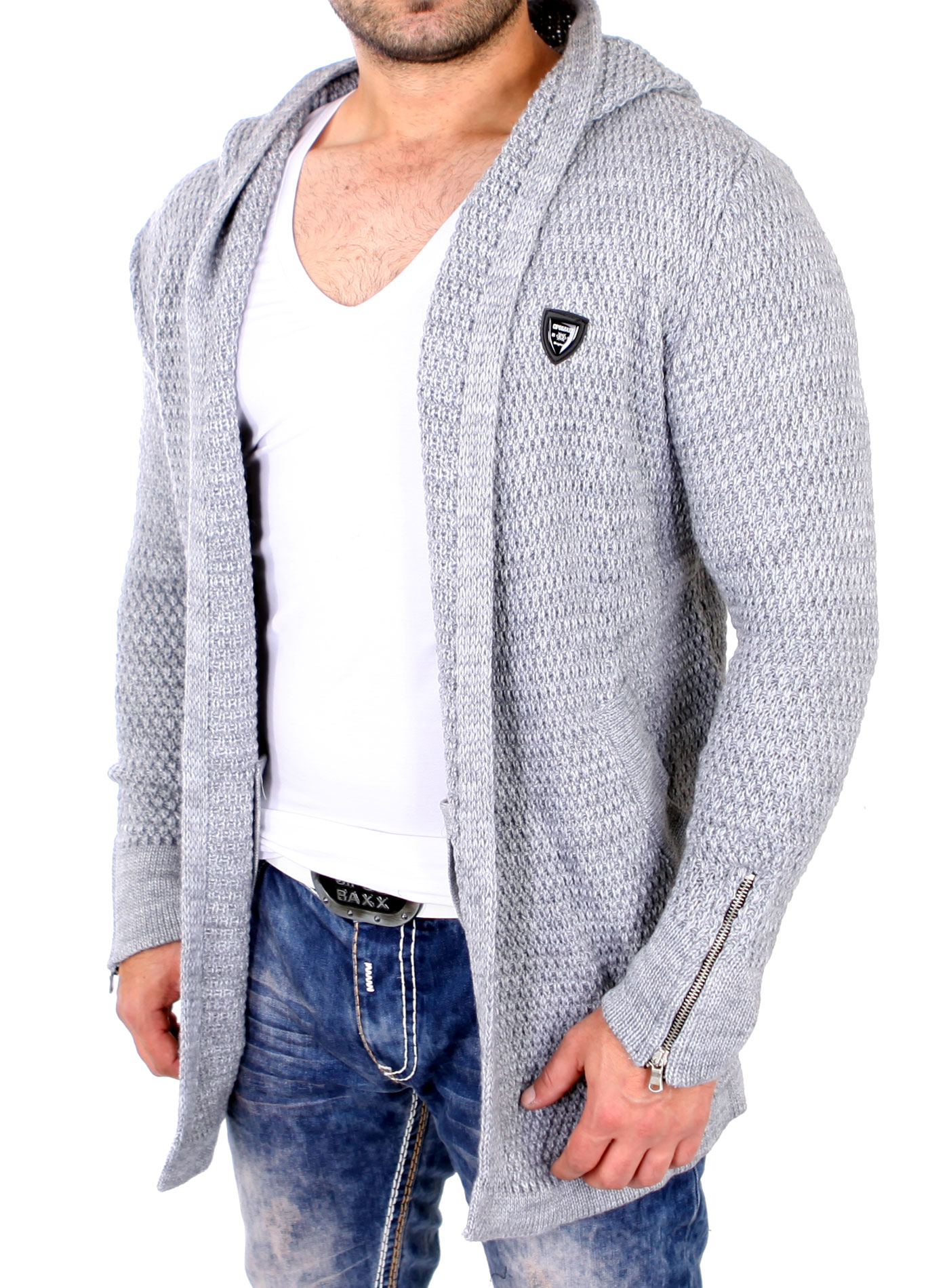 cipo baxx herren weste grob strick jacke v neck cardigan lang mit kapuze c 103 ebay. Black Bedroom Furniture Sets. Home Design Ideas