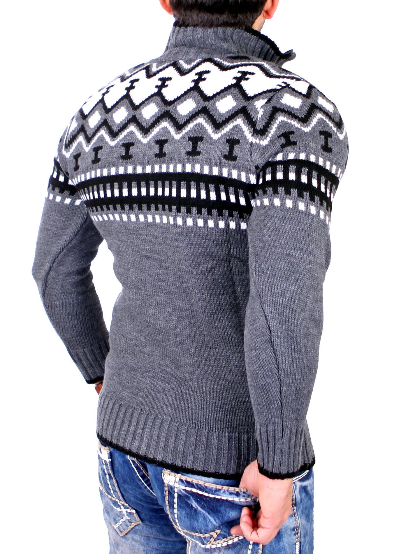 reslad herren grob strick pullover crewneck zipper. Black Bedroom Furniture Sets. Home Design Ideas