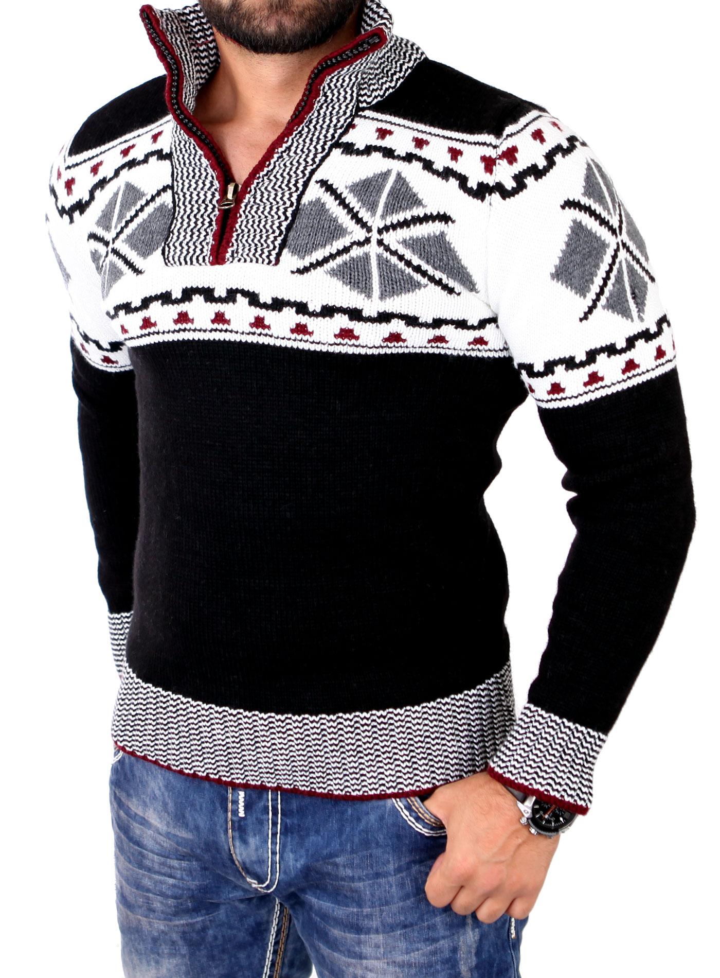 tazzio casual strick pullover herren stehkragen norweger. Black Bedroom Furniture Sets. Home Design Ideas