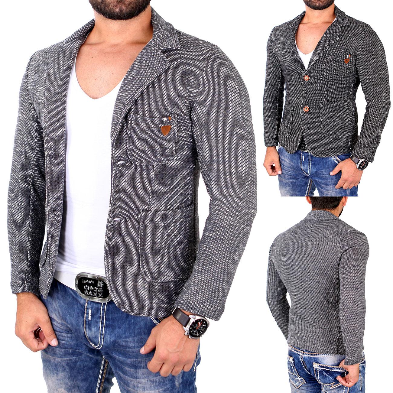 reslad casual herren sakko fancy look jacket strick blazer. Black Bedroom Furniture Sets. Home Design Ideas