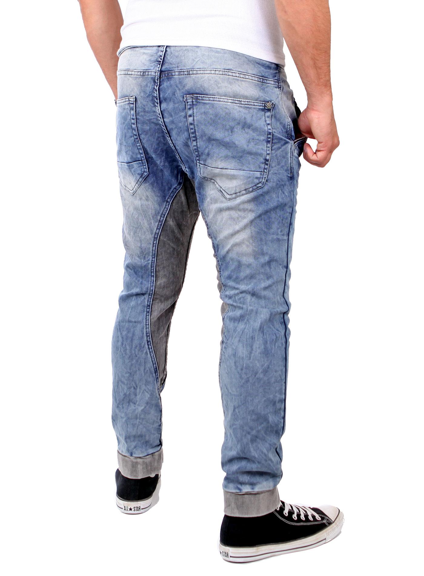 rerock herren jeans jogginghose bicolor low crotch jogg. Black Bedroom Furniture Sets. Home Design Ideas