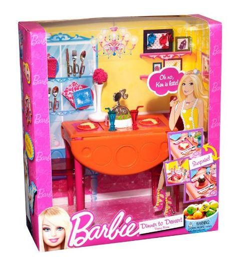 mattel barbie möbel sortiment esszimmer, dining room t7536 (t8007