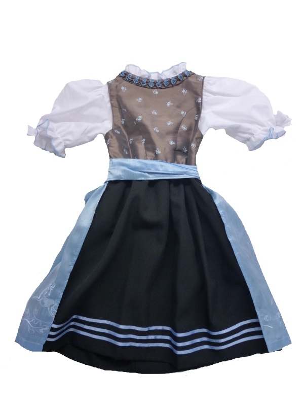 festliches kinder dirndl taupe hellblau gr 98 140 ebay. Black Bedroom Furniture Sets. Home Design Ideas