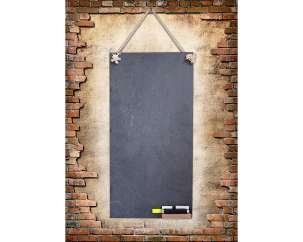 schiefertafel k che schreibtafel mit kordel ablage 60 x 30 cm neu ebay. Black Bedroom Furniture Sets. Home Design Ideas