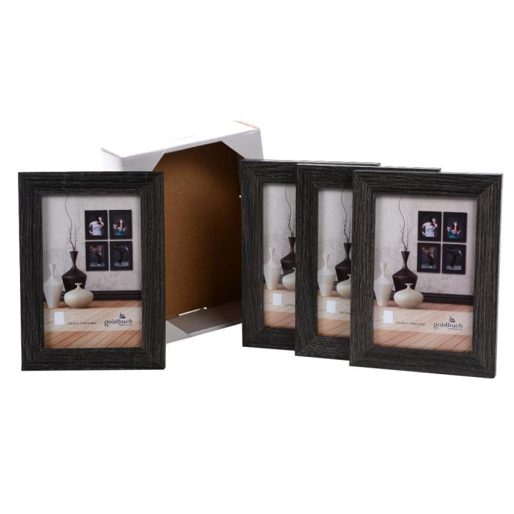 bilderrahmen collage set 4x 10x15 rahmen set dunkelbraun. Black Bedroom Furniture Sets. Home Design Ideas