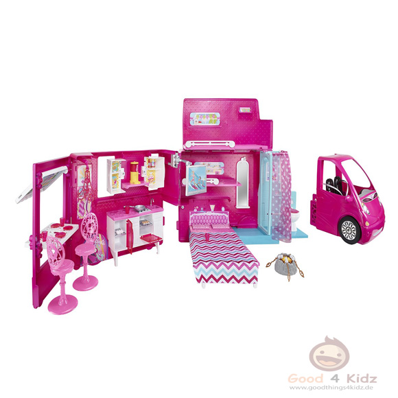 neu mattel barbie glam camper verwandelbares wohnmobil. Black Bedroom Furniture Sets. Home Design Ideas