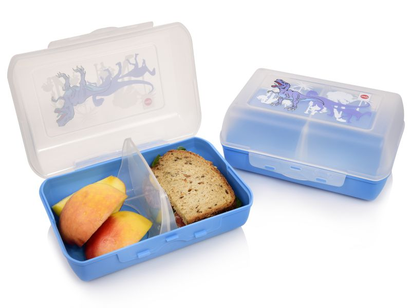 emsa brotdose kunststoff blau dino bpa frei kinder lunchbox 16x11x7 cm 2er set ebay. Black Bedroom Furniture Sets. Home Design Ideas