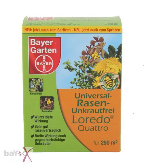 bayer universal rasen unkrautfrei loredo quattro 250 ml 39 96 euro pro liter ebay. Black Bedroom Furniture Sets. Home Design Ideas