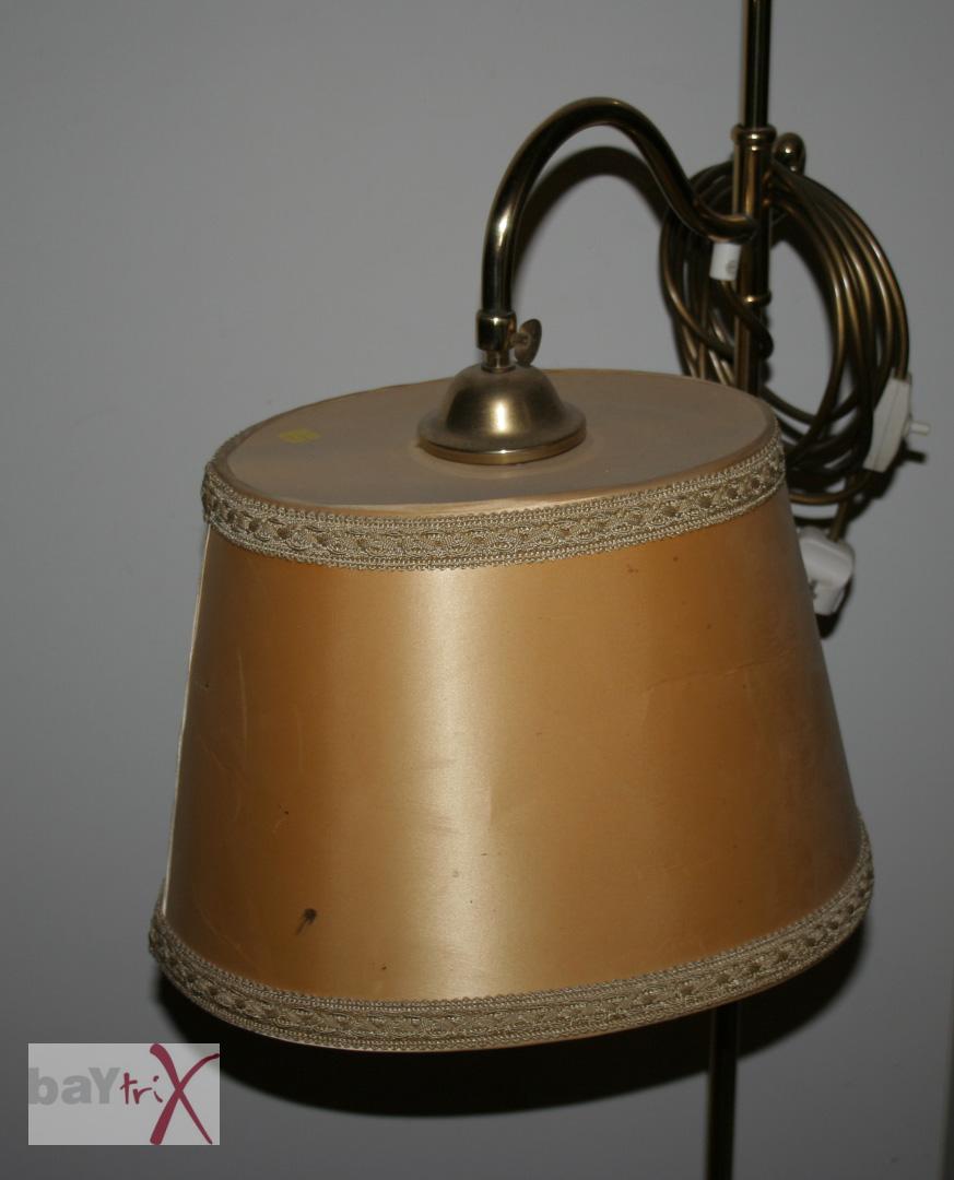 stehlampe messing messinglampe leselampe vintage schirm ebay. Black Bedroom Furniture Sets. Home Design Ideas