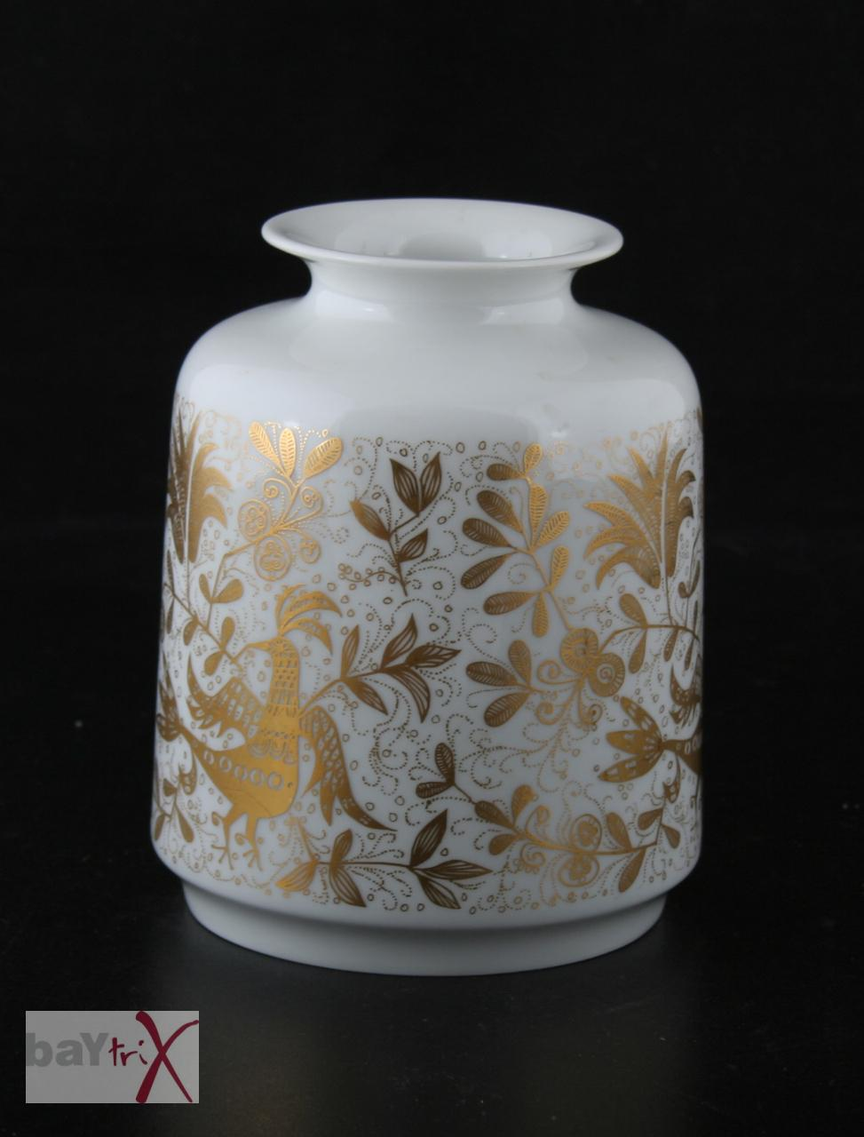 vase hutschenreuther porzellan wei gold fasan pfau ebay. Black Bedroom Furniture Sets. Home Design Ideas
