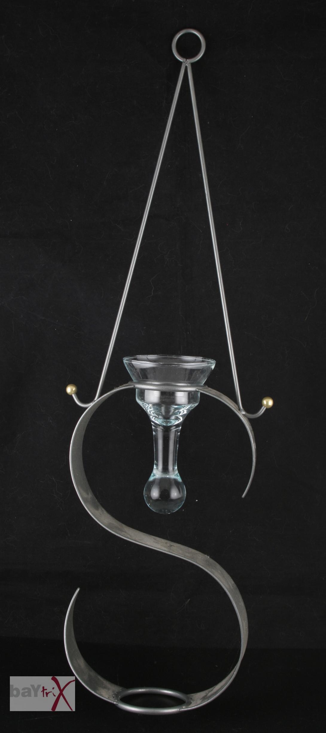 h ngeleuchter f r kerzer kerzenhalter metall mit glaseinsatz h he ca 63 cm ebay. Black Bedroom Furniture Sets. Home Design Ideas