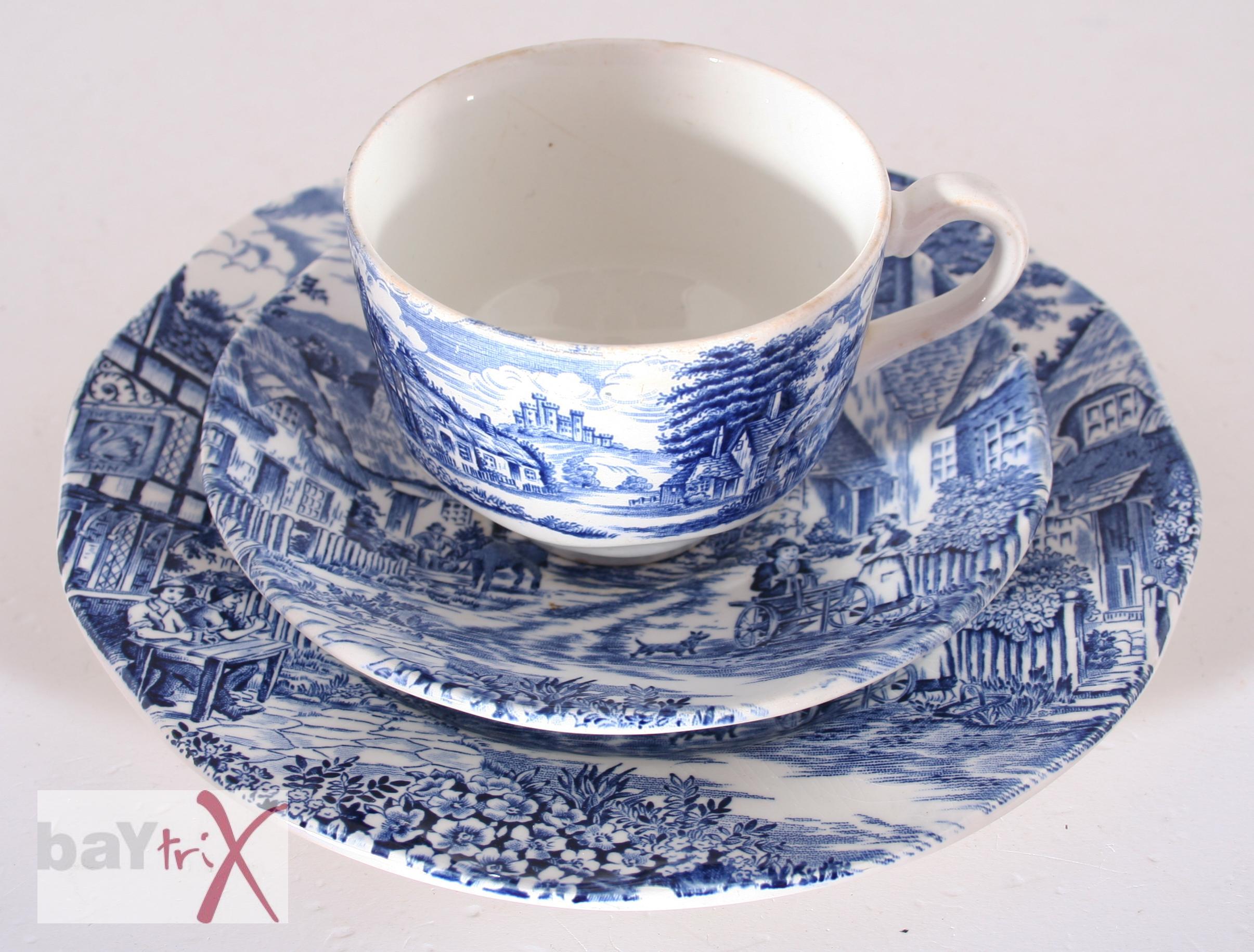 old english village gedeck tasse teller blau wei enoch wedgwood england kaffee ebay. Black Bedroom Furniture Sets. Home Design Ideas