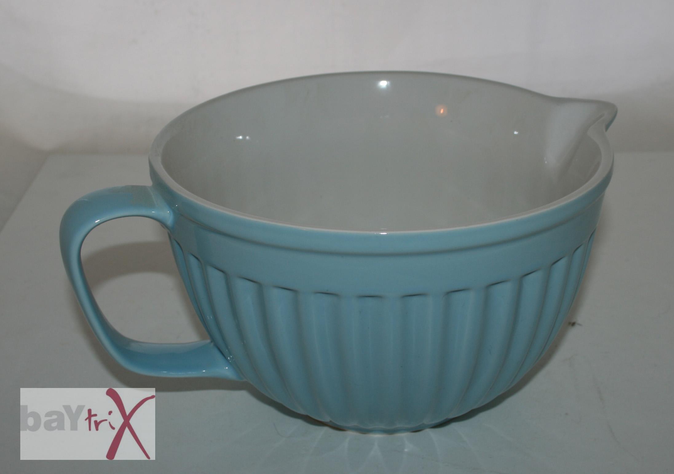 Große Hellblaue Schüssel Mit Henkel Keramik Rührschüssel