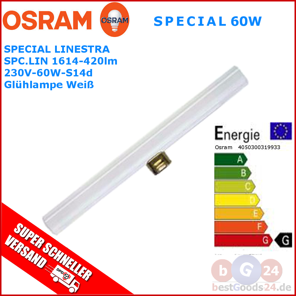 100 orginal osram linestra 60w s14d opal wei linienlampe 230v 50cm 1 sockel ebay. Black Bedroom Furniture Sets. Home Design Ideas