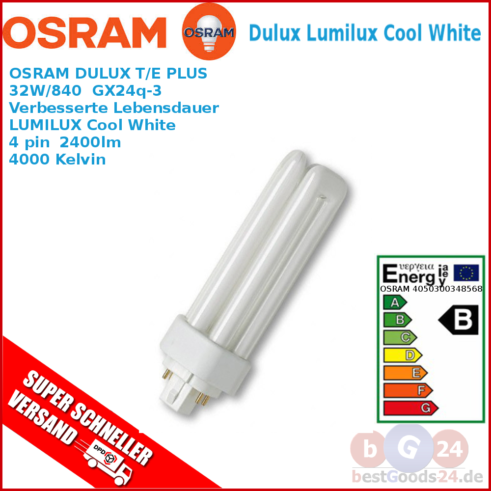 osram leuchtstoff lampe dulux t e plus 32w 840 2400lm licht beleuchtung top ebay. Black Bedroom Furniture Sets. Home Design Ideas