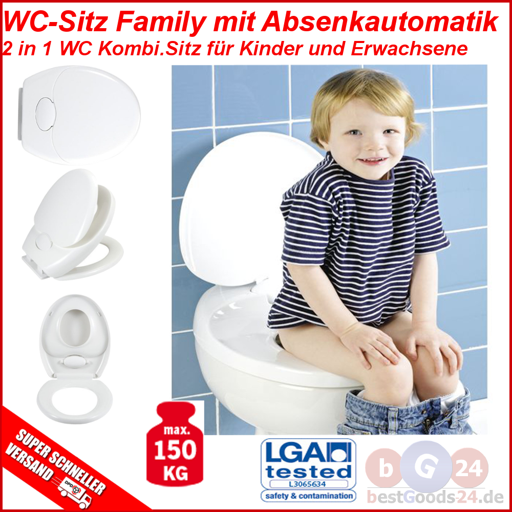 wc sitz toilettendeckel kinder family toilettensitz klodeckel absenkautomatik ebay. Black Bedroom Furniture Sets. Home Design Ideas