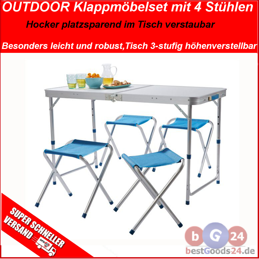 klappm bel camping set tisch 4x stuhl hocker sitzgruppe picknick garnitur 7 9 kg ebay. Black Bedroom Furniture Sets. Home Design Ideas