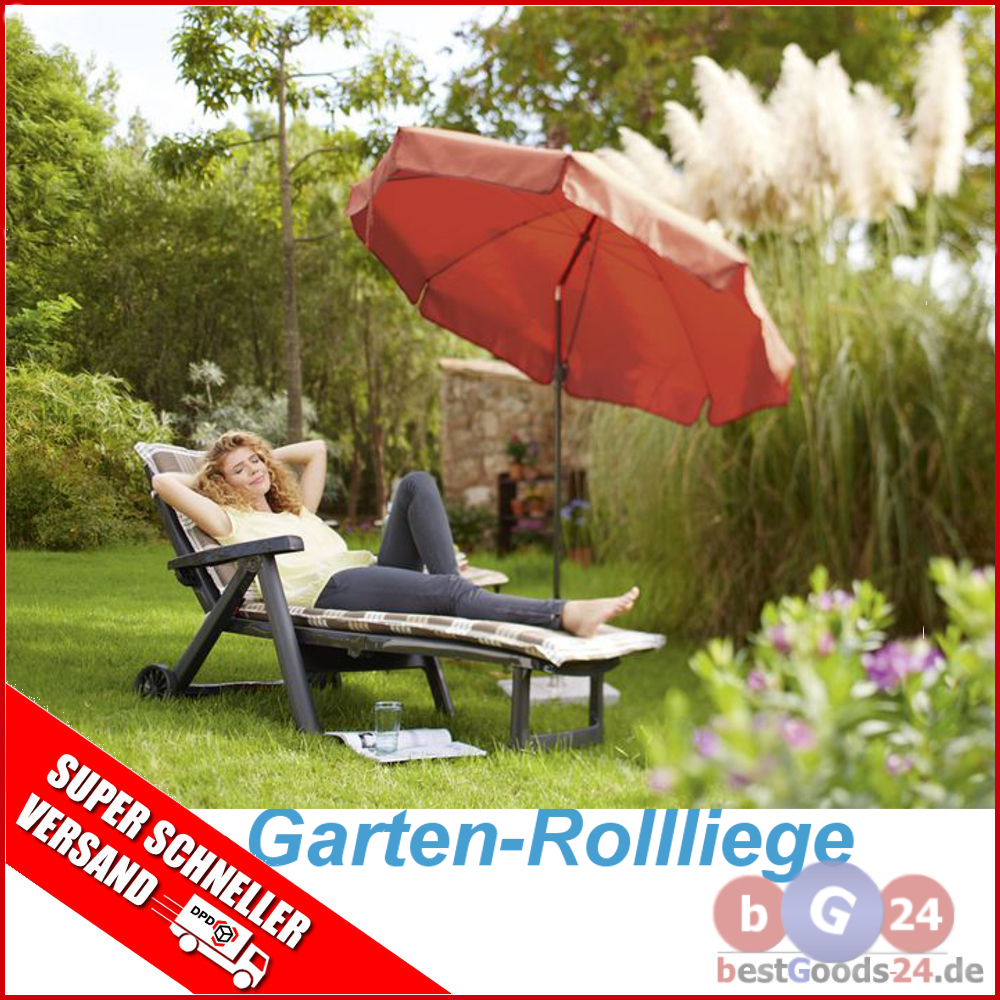 liege gartenliege liegestuhl sonnenliege kunststoff klappbar garten rollbar ebay. Black Bedroom Furniture Sets. Home Design Ideas
