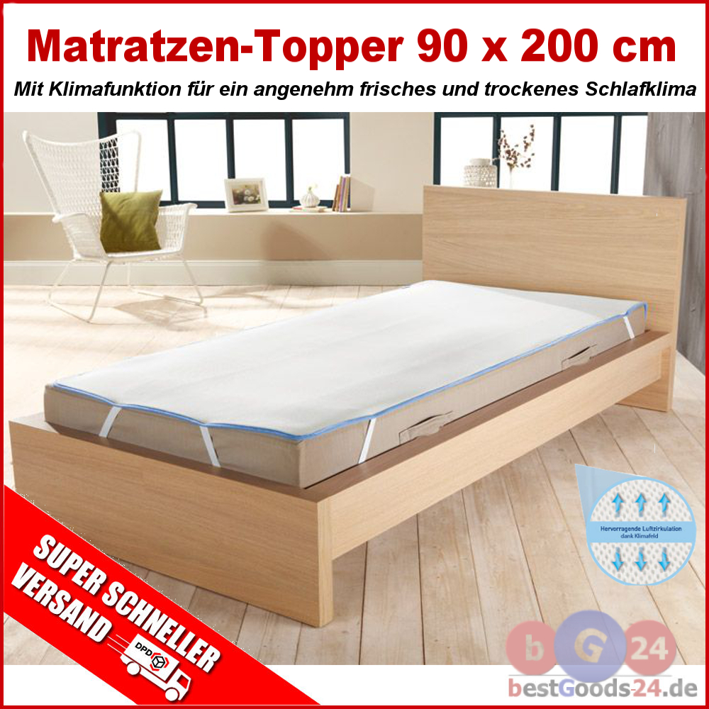 matratzen topper 90 x 200 cm matratzenspannauflage matratzenauflage auflage zqx9 ebay. Black Bedroom Furniture Sets. Home Design Ideas