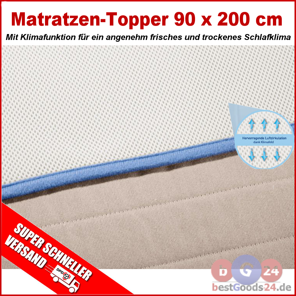 matratzen topper 90 x 200 cm matratzenspannauflage matratzenauflage auflage ebay. Black Bedroom Furniture Sets. Home Design Ideas