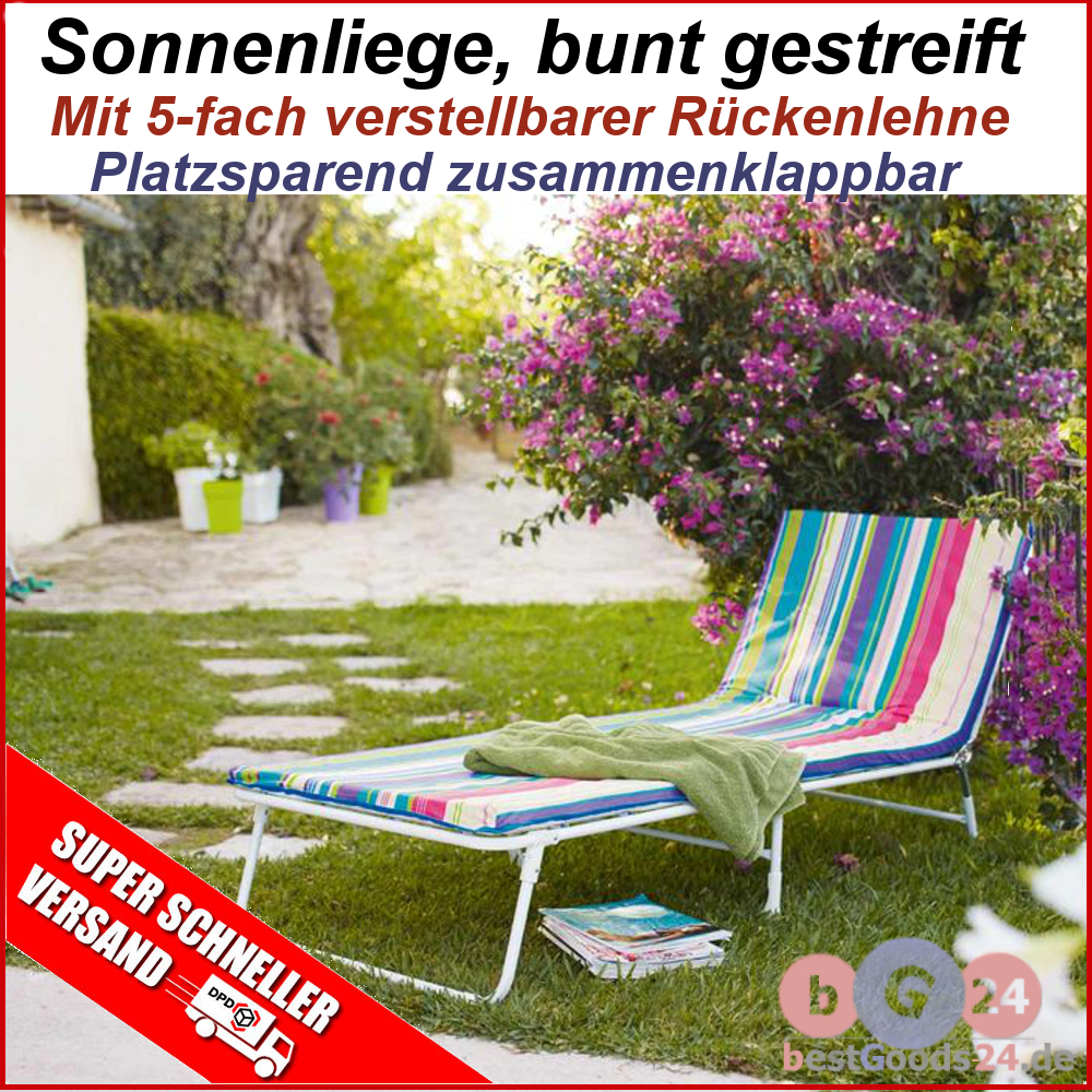 gartenliege dreibeinliege sonnenliege liege balkon polsterauflage bund gr n ebay. Black Bedroom Furniture Sets. Home Design Ideas