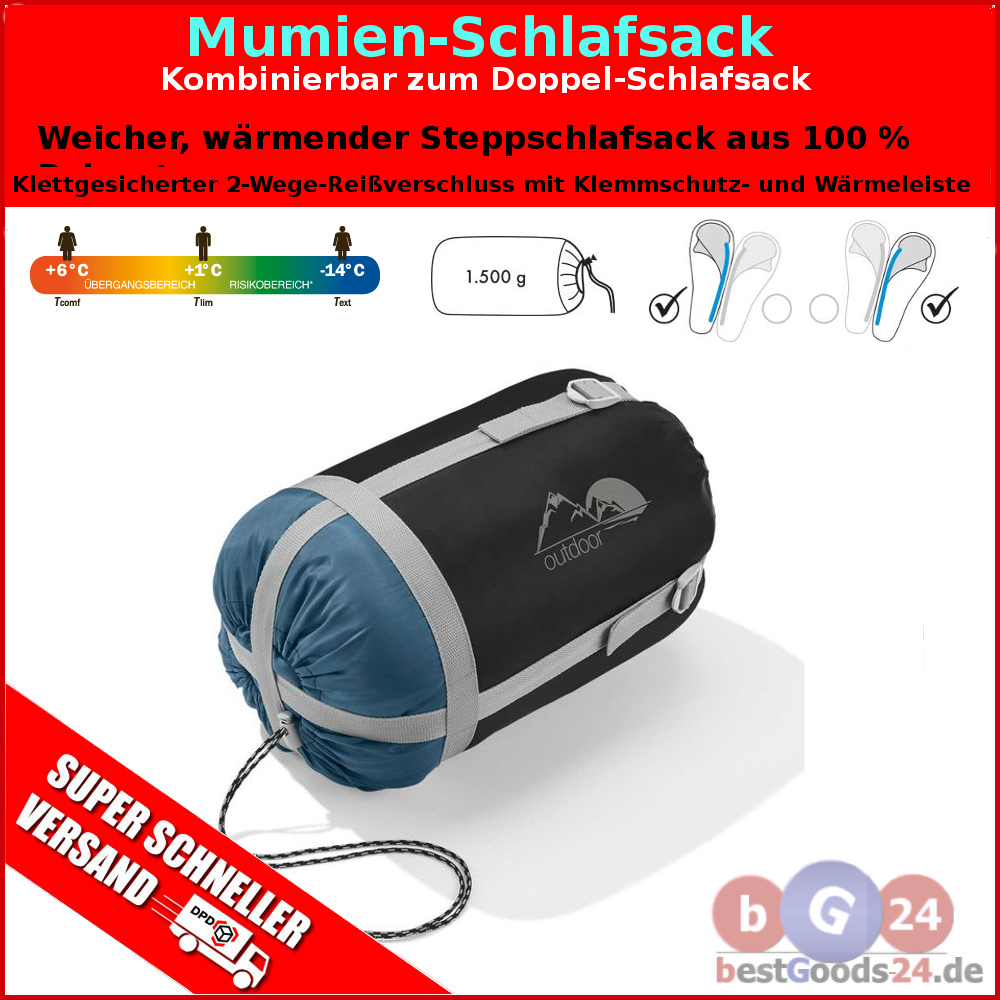 mumienschlafsack schlafsack 14 c xxl camping zelt 220 x. Black Bedroom Furniture Sets. Home Design Ideas