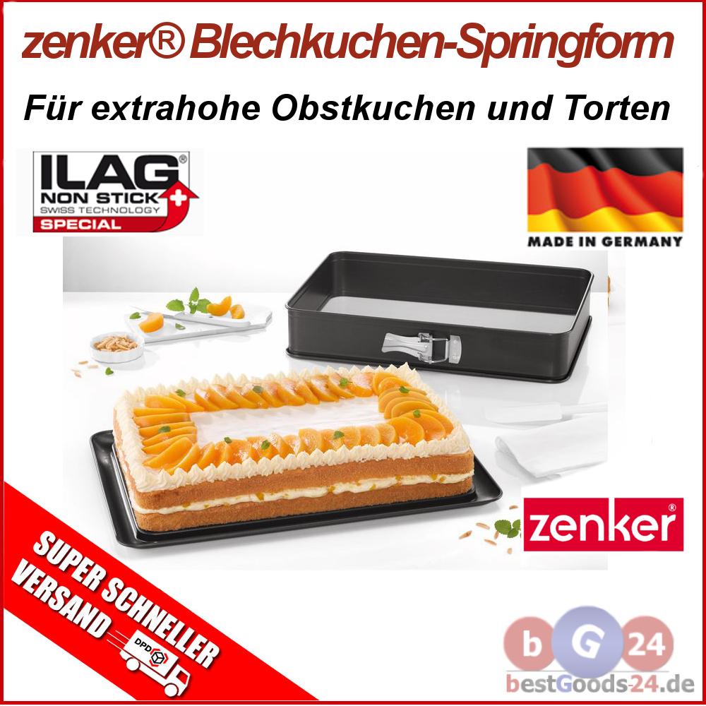 zenker blechkuchen backform springform rechteckig mit servierboden backblech zu2 ebay. Black Bedroom Furniture Sets. Home Design Ideas