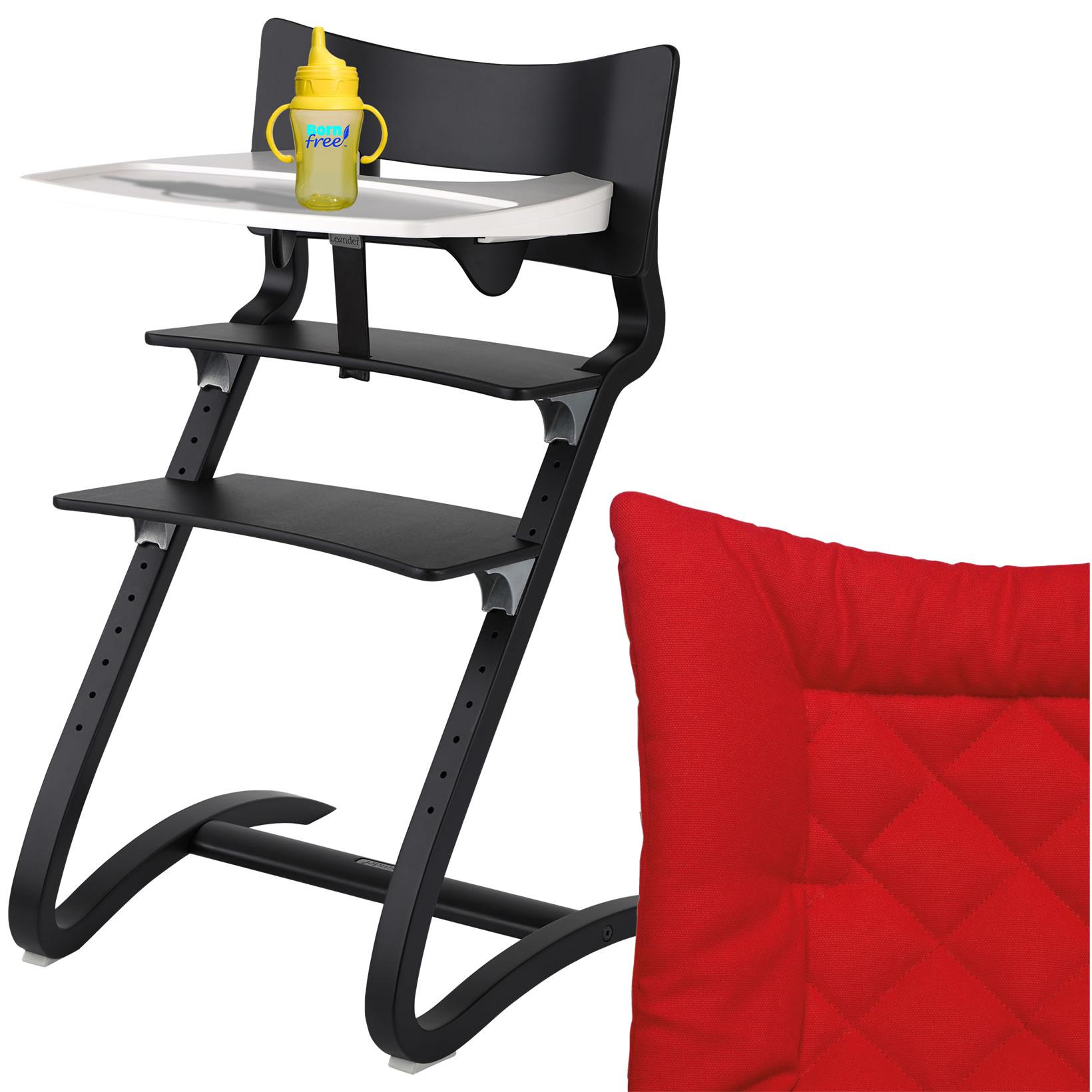 leander hochstuhl schwarz komplett mit sicherheitsb gel tisch sitzkissen tango ebay. Black Bedroom Furniture Sets. Home Design Ideas