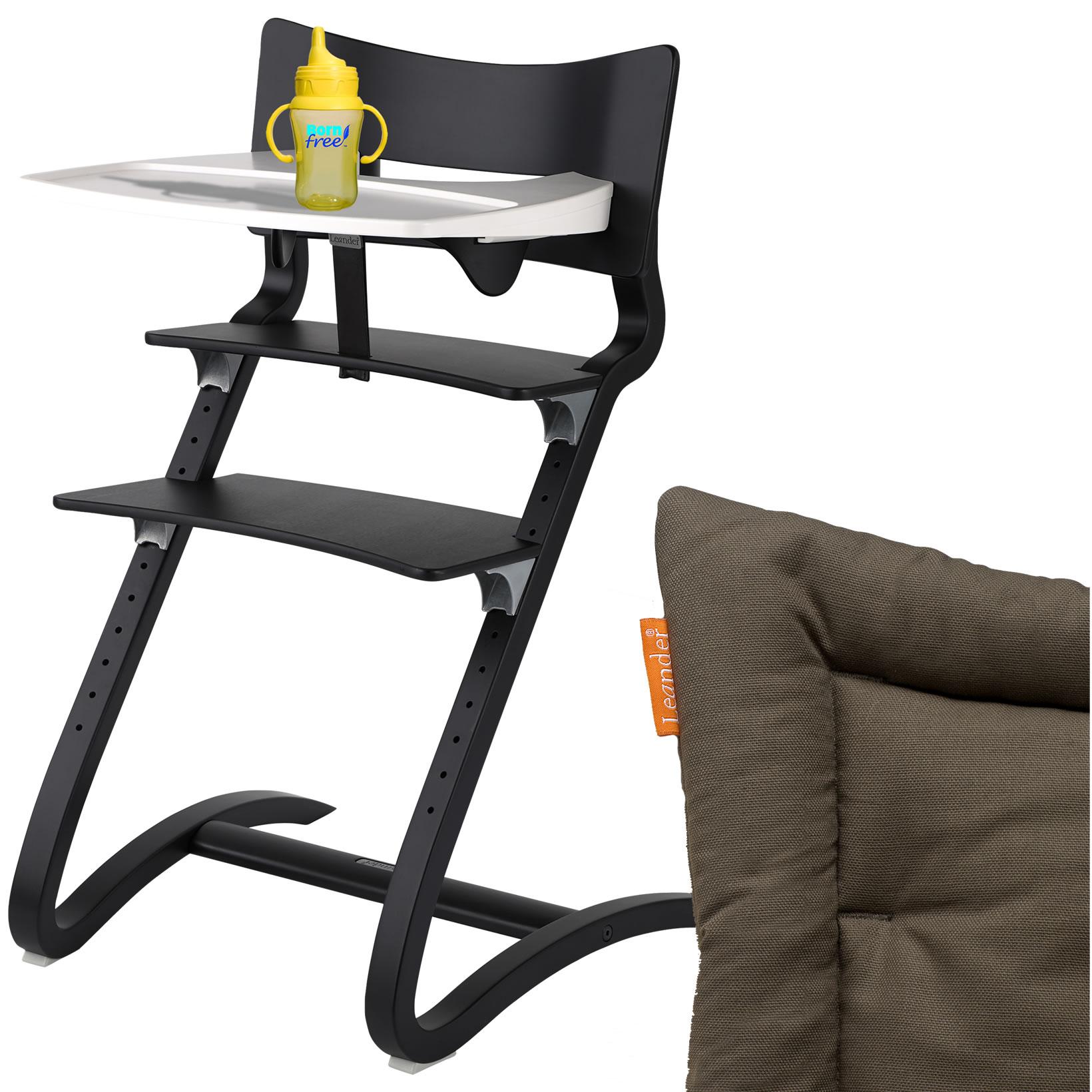 leander hochstuhl schwarz komplett mit sicherheitsb gel tisch sitzkissen coffee. Black Bedroom Furniture Sets. Home Design Ideas